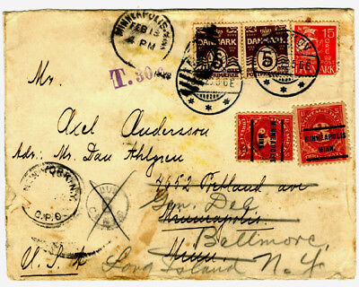 1929 Denmark cover to USA with U.S. postage dues, J63 x2, forwarded