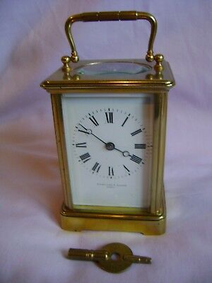 Antique Margaine Timepiece Small Carriage Clock + Key In Good Working Order