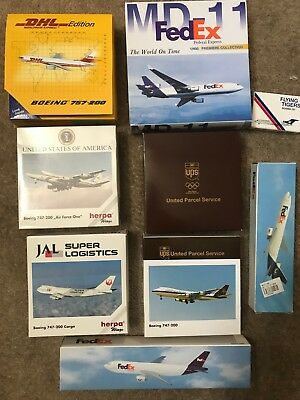 Huge Lot of Herpa UPS 747-200 1:500 scale, Fedex MD-11, Gemini Jets DHL 1:400