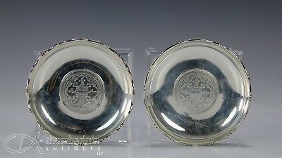 Two Old Hong Kong Chinese Britain Silver Trade Dollars Mounted In Silver Dish
