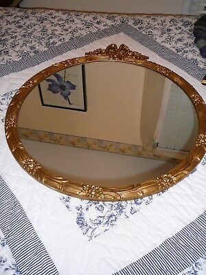 """Antique Gold Round Mirror-Decorative Carved Wood Crafted Frame, 29 1/2"""" x 26"""","""