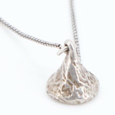 "VTG Sterling Silver - Hershey Chocolate Kiss Pendant 17.75"" Chain Necklace - 5g"