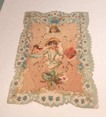 Vintage Victorian Paper Lace Folded Valentines Card - Girl With Angel Rose Heart