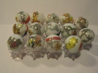 TOM AND JERRY MARBLES 5/8 SIZE collection lot + STANDS