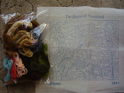 """Printed Tapestry Canvas """" Spring """" by Twilleys plus Bag of Tapestry Wools"""