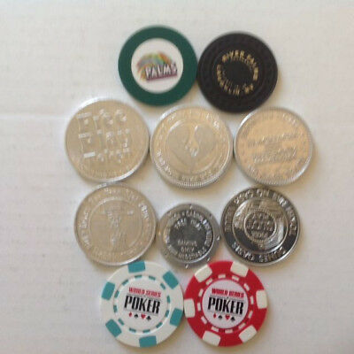 6 FREE PLAY CASINO TOKENS and Four Miscellaneous Chips