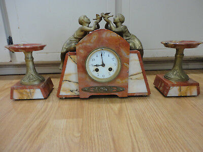 1930's French Art Deco Pink Marble Clock w/ candleholders Spelter Women Birds