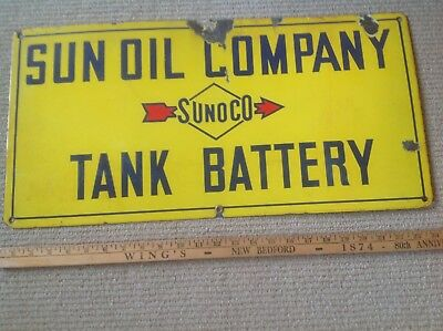 """Sunoco Sun Oil Co.porcelin  Metal Tin Sign 24""""x 12"""" 1930 And Not A Repo."""