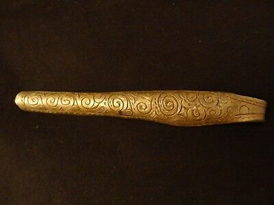Antique Mongolian Hand Engraved Silver Plated Brass Handle