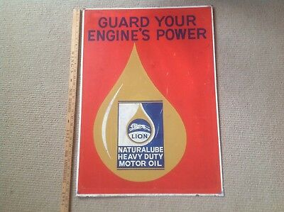 """Lion Motor Oil Co.double Sided  Metal Tin Sign 28""""x 20"""" 1955 And Not A Repo."""
