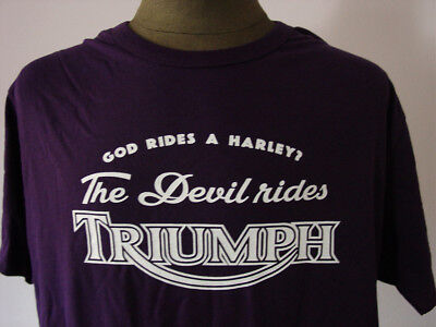 THE DEVIL RIDES TRIUMPH ★ FairWear T-Shirt * NEU * Siebdruck * Motorcycles * UK