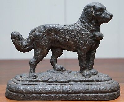 Lovely Victorian 1855 Cast Iron Door Stop Of A Saint Bernard Dog Lovely Example