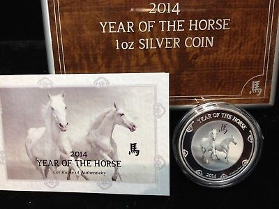 Niue 2014 $2 Year of the Horse White Horse 1 Oz with Box and COA