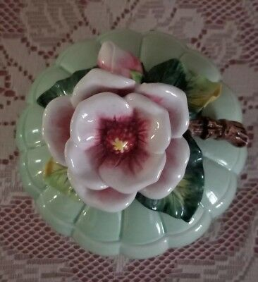 Fitz and Floyd Lidded Box Dish Bowl Floral Flowers Ladybug