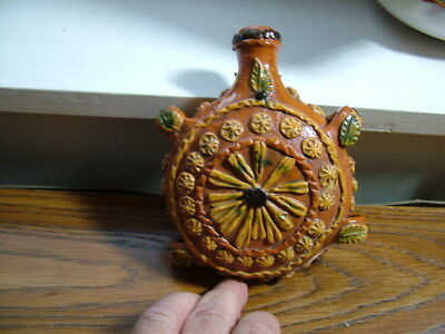 Antique Redware Pottery Flask