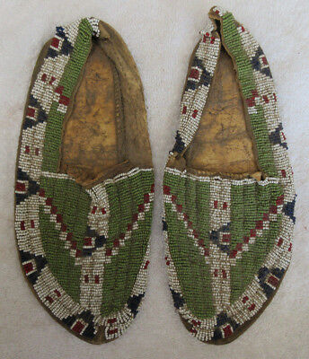 Very Nice Old Pair Of Beaded Sioux Moccasins--Nr!