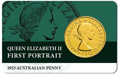 1953 AUSTRALIAN PENNY FIRST PORTRAIT QE11 Coin on Card