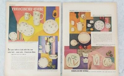 1950's 2 Page FRANCISCAN WARE Ad Retro Kitchen