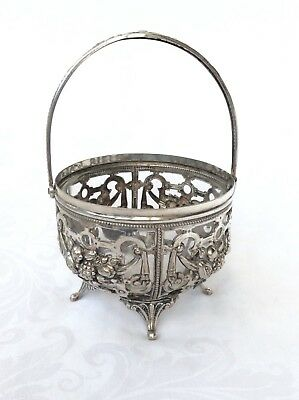 Continental Silver Sugar Basket With Clear Glass Liner.