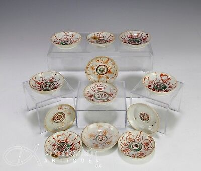 Set Of 12 Antique Chinese Red And Green Painted Porcelain Sauce Dishes Ming