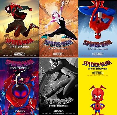 "Spider Man Into the Spider Verse Movie Poster Character Film Print 24x36"" 27x40"""