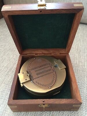 Stanley London Antique Vintage Boxed Solid Brass Display Compass