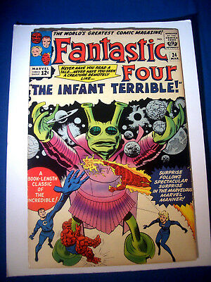 1964 * FANTASTIC FOUR #24 * Marvel Comics est 8.5 VF Rare WHITE Pages BABY ALIEN