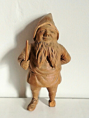 Old Antique Carved Wood Wooden Treen Black Forest German Gnome Dwarf Figure 1900