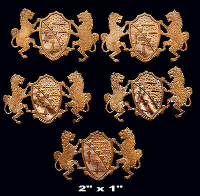 Vintage Brass Stamping  Embossed Lions Holding Shield  One (1) pcs.