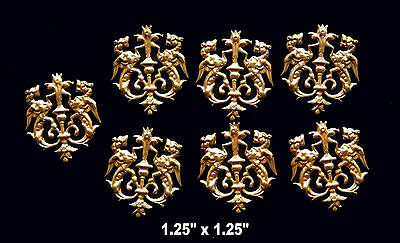 Vintage Brass Stamping  Embossed Coat of Arms with Griffins  (1) pcs.