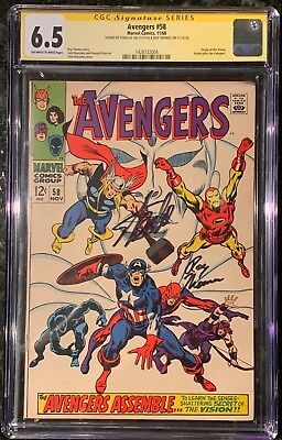 Avengers 58 Cgc Ss 6.5 Signed Stan Lee Origin Of Vision Looks Better Than Grade!