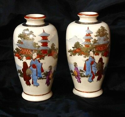Anrique Pair Of Small Satsuma Vases Hand Decorated & Gold Leaf C1880-1900 Vgc
