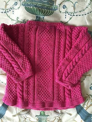Vintage child sweater Aran Cable Hand Knitted Pink pure Cotton
