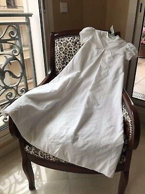 Vintage 1960 Baby Christening Gown White Embroidered Cotton Excellent Condition.
