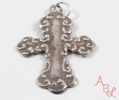 Sterling Silver Vintage 925 Religious Cross Etched Pendant (2g) - 743735