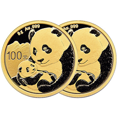 Lot of 2 - 2019 100 Yuan Gold Chinese Panda .999 8g Brilliant Uncirculated Seale