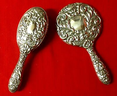 1967 Broadway & Co Birmingham Celtic Style Silver Back Ladies Hairbrush & Mirror