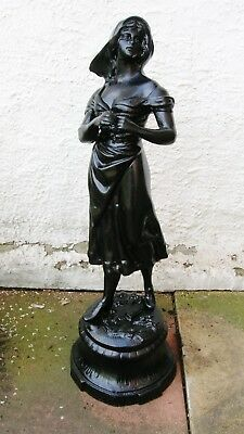 Large Painted Old Spelter Figure Of A Peasant Girl