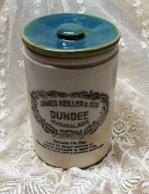 Antique James Keiller Sons Dundee 1ib Stoneware Crock Marmalade With Lid