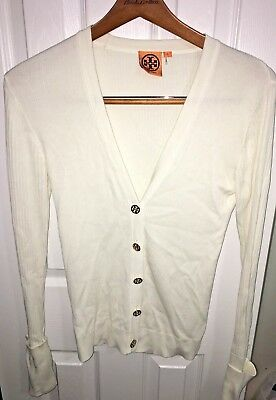 Tory Burch size S Shrunken Simone ribbed cardigan sweater