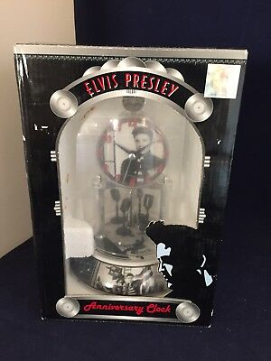 ELVIS PRESLEY Glass Dome Anniversary Clock w/Porcelain Base-Rotating Pendulums