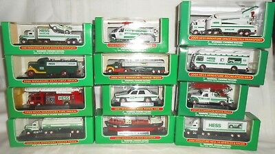 12 Hess Miniature Trucks, Ship, Helicoptor Collection 1998 - 2009 New in Boxes