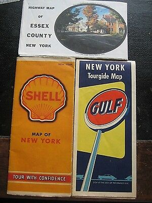 Vintage Lot of State of New York State Highway Maps 1940 SHELL and GULF & 1