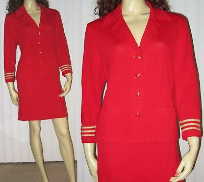 ST JOHN COLLECTION Marie Gray RED Santana Knit Skirt Suit GOLD TRIM sz 10