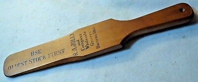 Vintage R.A. Jolly Wholesale Grocer Bucyrus, Ohio Wood Advertising Paddle / Tool