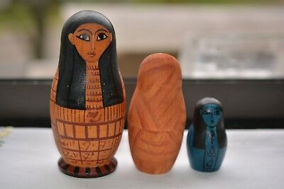 Antique Vintage Russian Nesting Egyptian Mummies Dolls Made in Russia