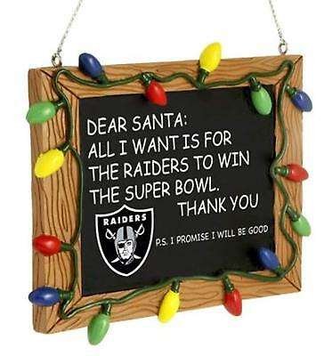 OAKLAND RAIDERS NFL Football Team Resin Chalkboard Sign Christmas Tree Ornament