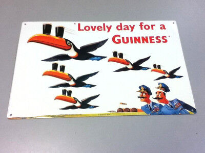 LOVELY DAY FOR A GUINNESS stout beer sign metal tin wall tacker TOUCAN COPS JQ9