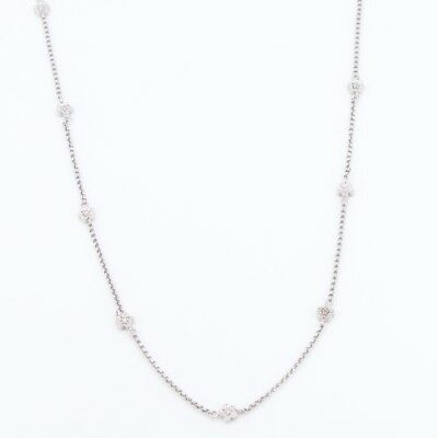 "Sterling Silver - DANMARK Diamond Accent Flower Extra Long 40"" Necklace - 17g"