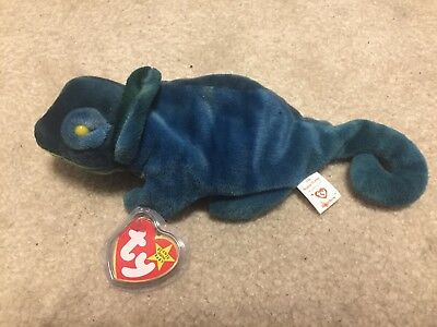 Very Rare 1997 Rainbow the Chameleon #1 Beanie Baby with Tags (Blue/Green)